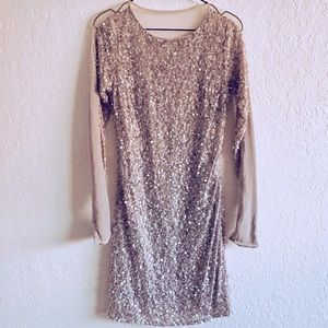ABS nude clear crystal mini dress size 4